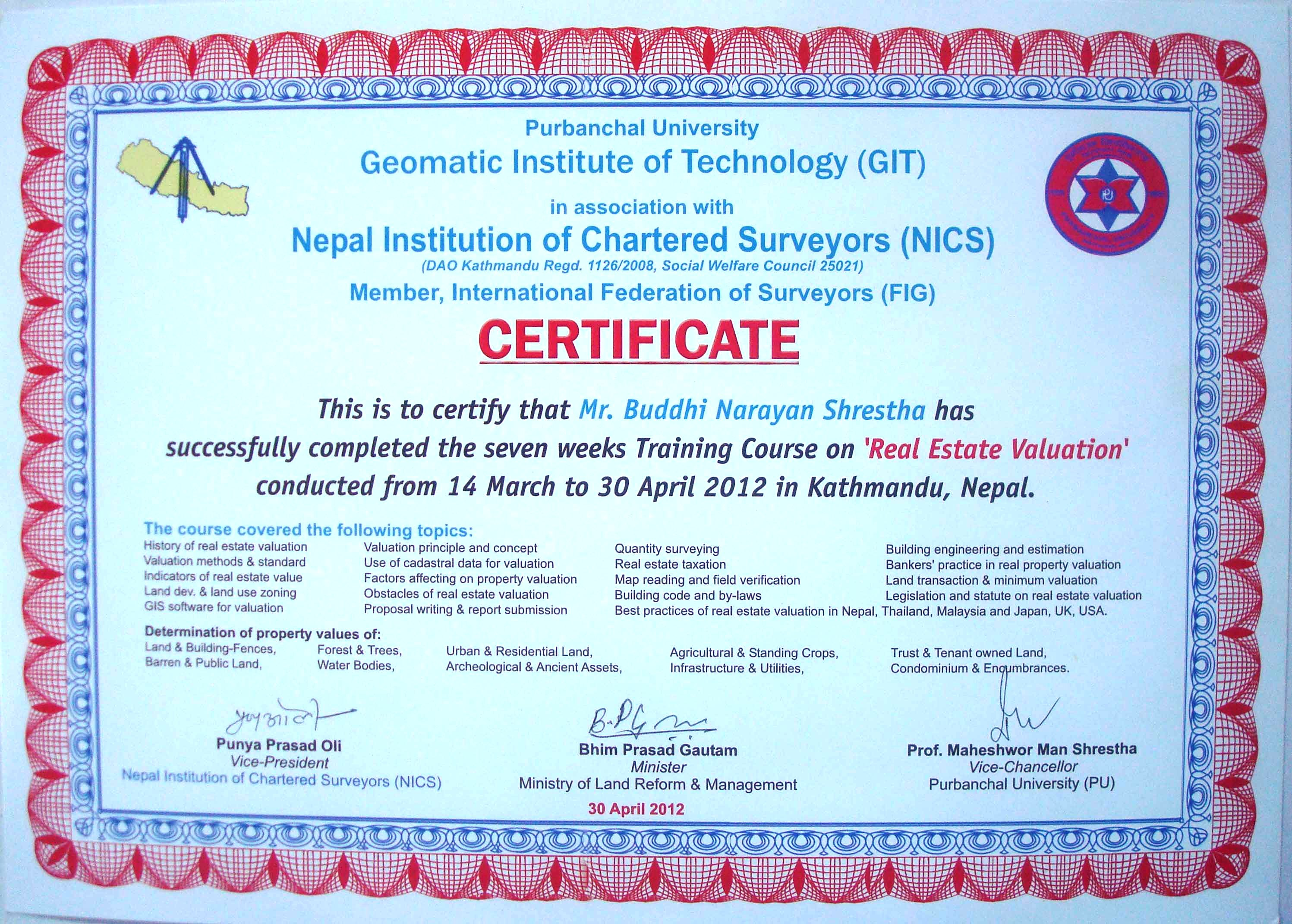 Real estate valuation training border nepal buddhi distributing the certificates yelopaper Gallery